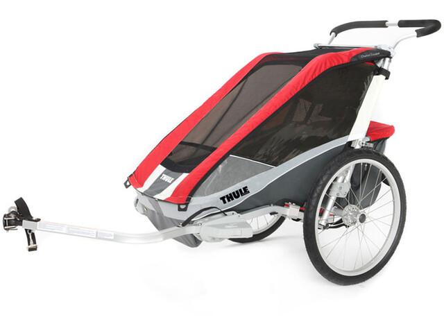 Thule Chariot Cougar 1 Cykelanhænger + Bicycle Trailer Kit rød/sølv (2019) | bike_trailers_component
